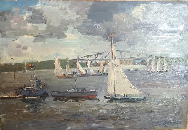 И. Кац. Яхты на дистанции. 1955 г.