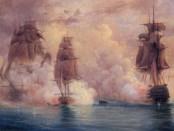 "Николай Красовский. Бой брига ""Меркурий"" с двумя турецкими кораблями, 1829 год. 1867."