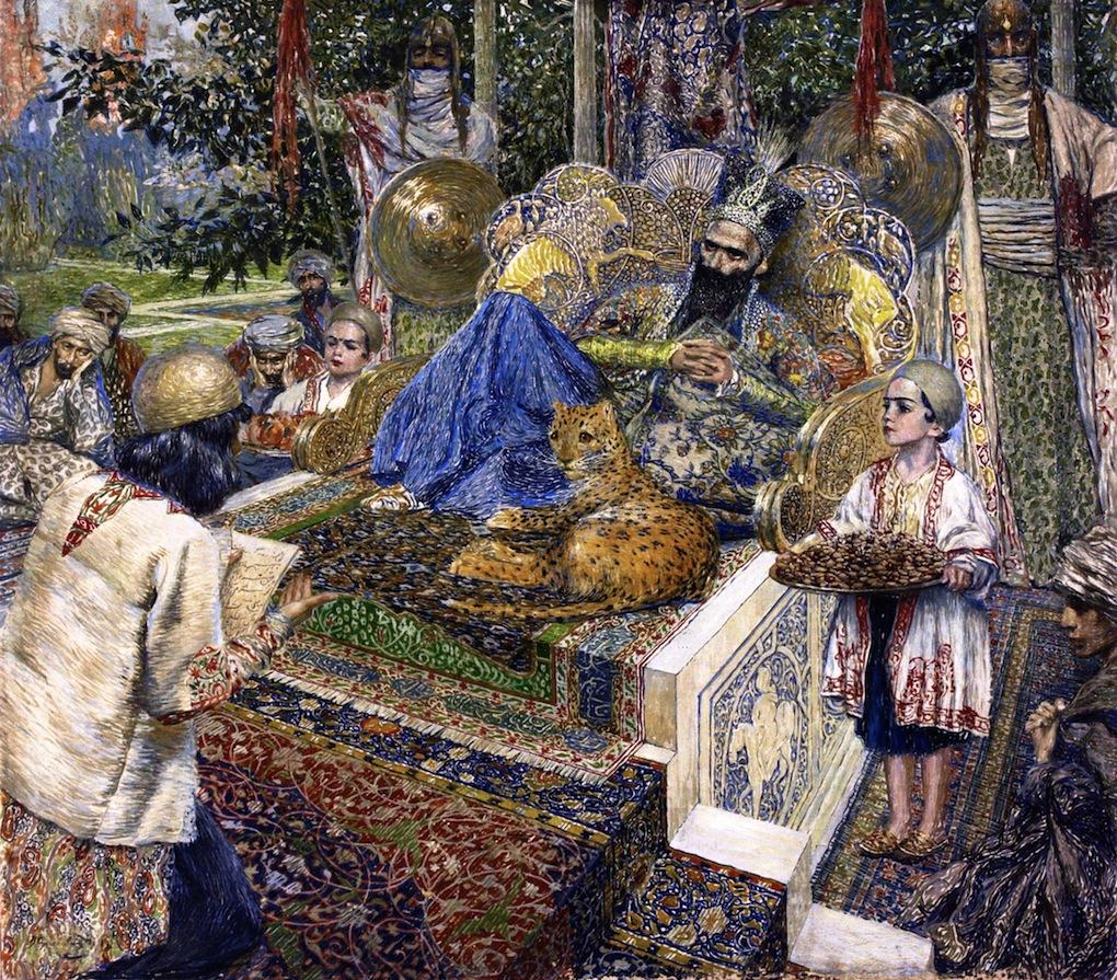 Фирдуси_читает_поэму_«Шах-Наме»_шаху_Махмуду_Газневи_(1913)